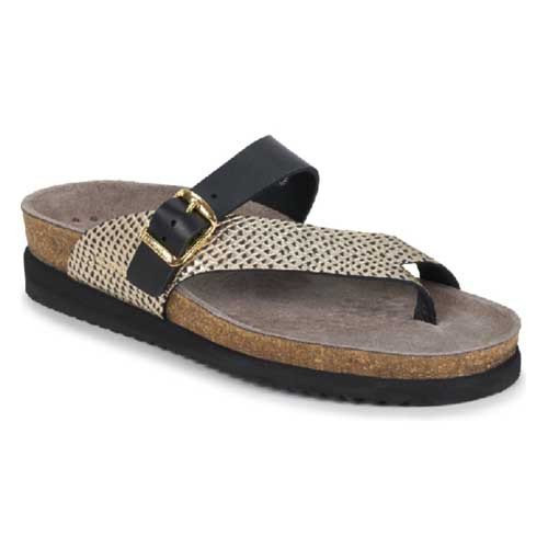 HELEN MIX is another variation of sandal model HELEN, with a cork footbed of 100% natural cork. Helen Mix sandal is light and extremely comfortable to wear. Available in Black and Multicoloured