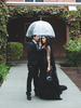 black gothic wedding dress in the rain