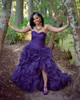 purple wedding gown on african american woman