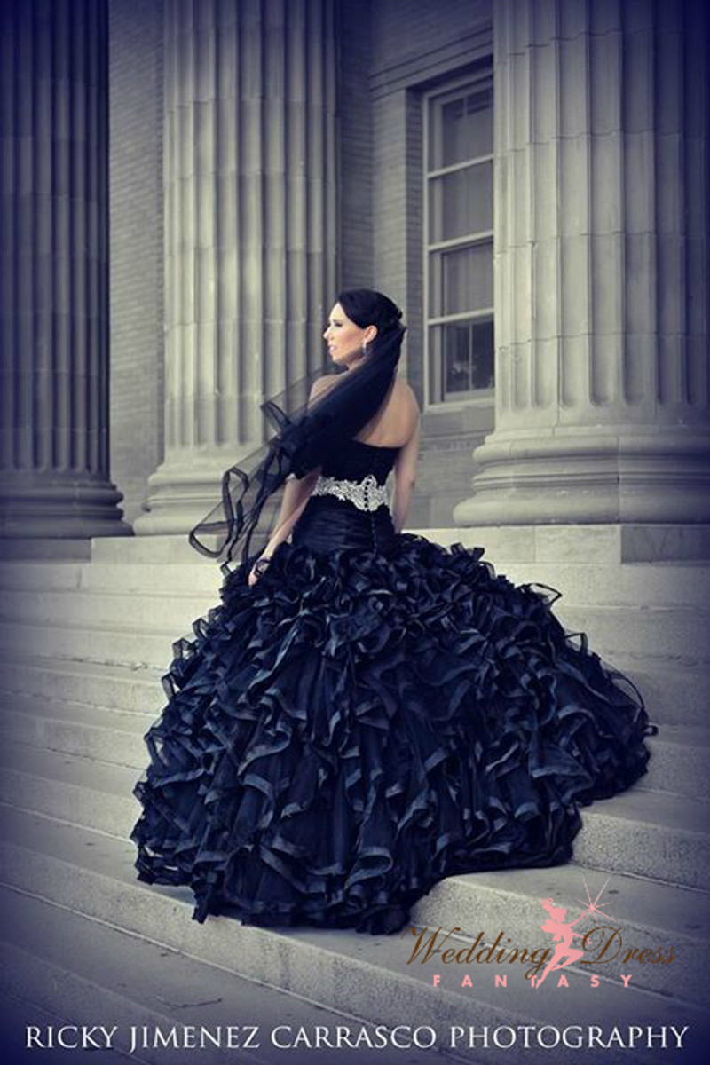 Black Wedding Dress with Ruffles