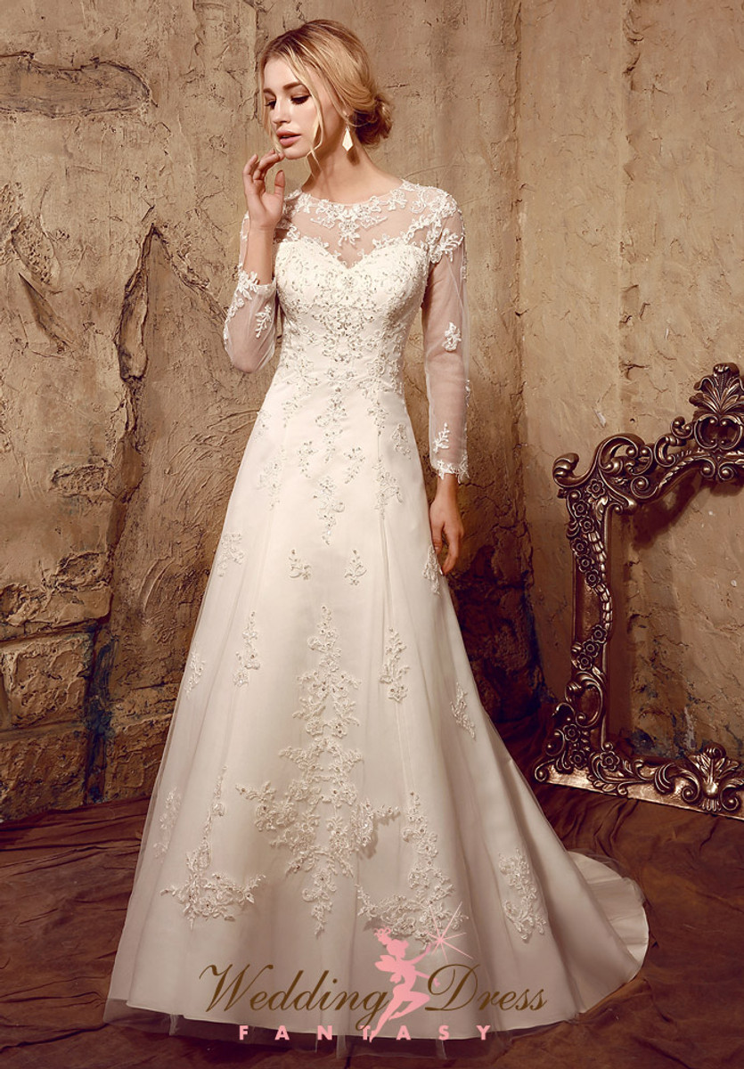 modest wedding dress with long lace sleeves