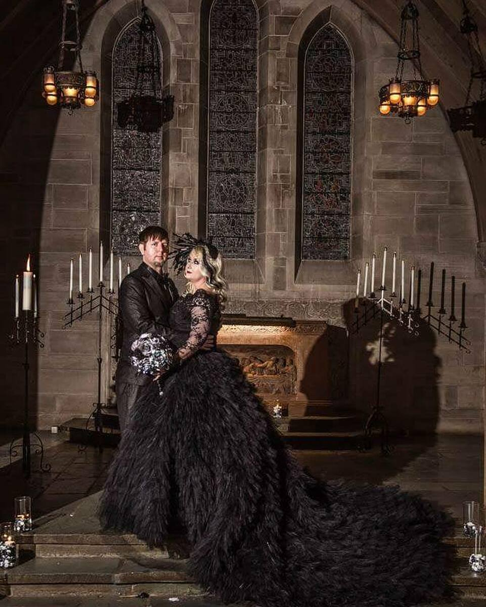 Dramatic Black Gothic Wedding Dress with Tulle