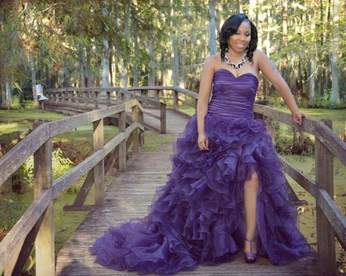 purple wedding dress on african american bride