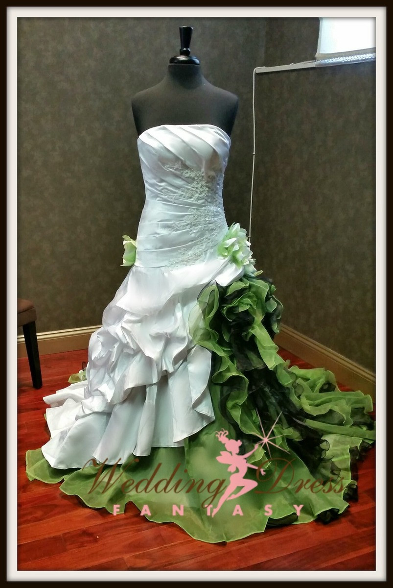 Green and White Wedding Dress
