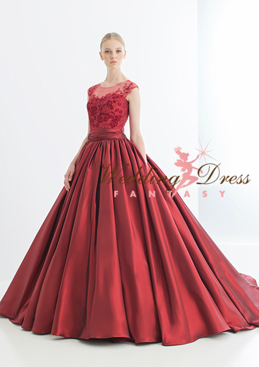 Red Wedding Dress with illusion Lace