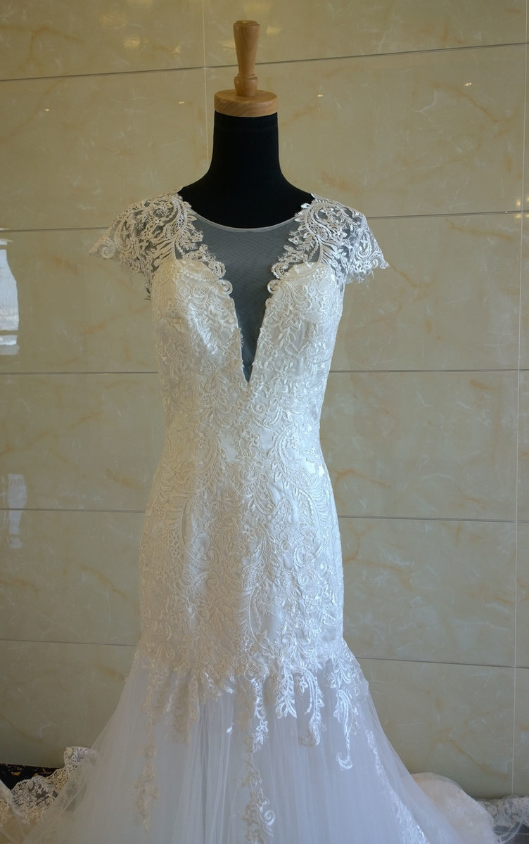 Beaded Wedding Dress with Cream Satin