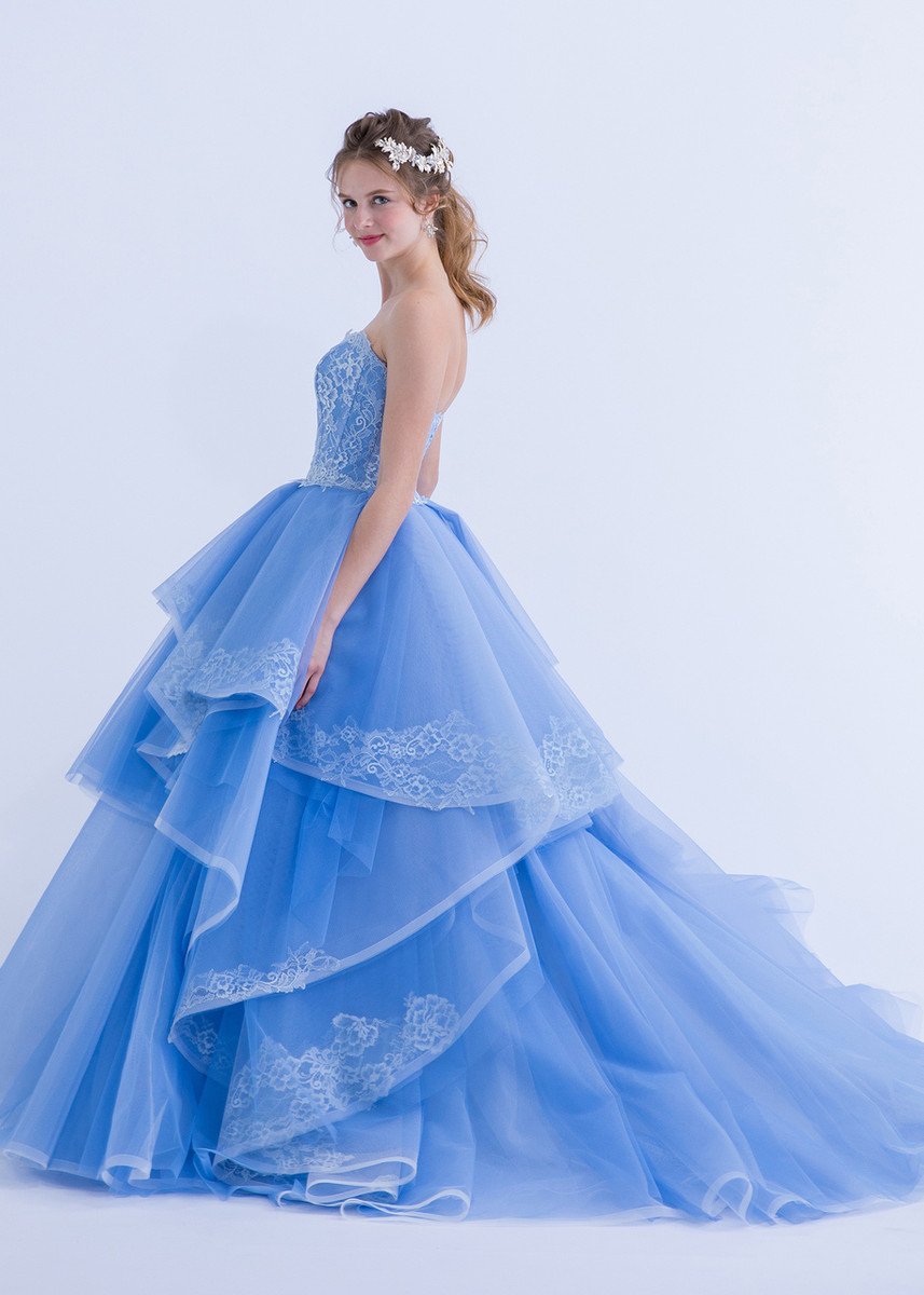 Blue Wedding Dress with lace