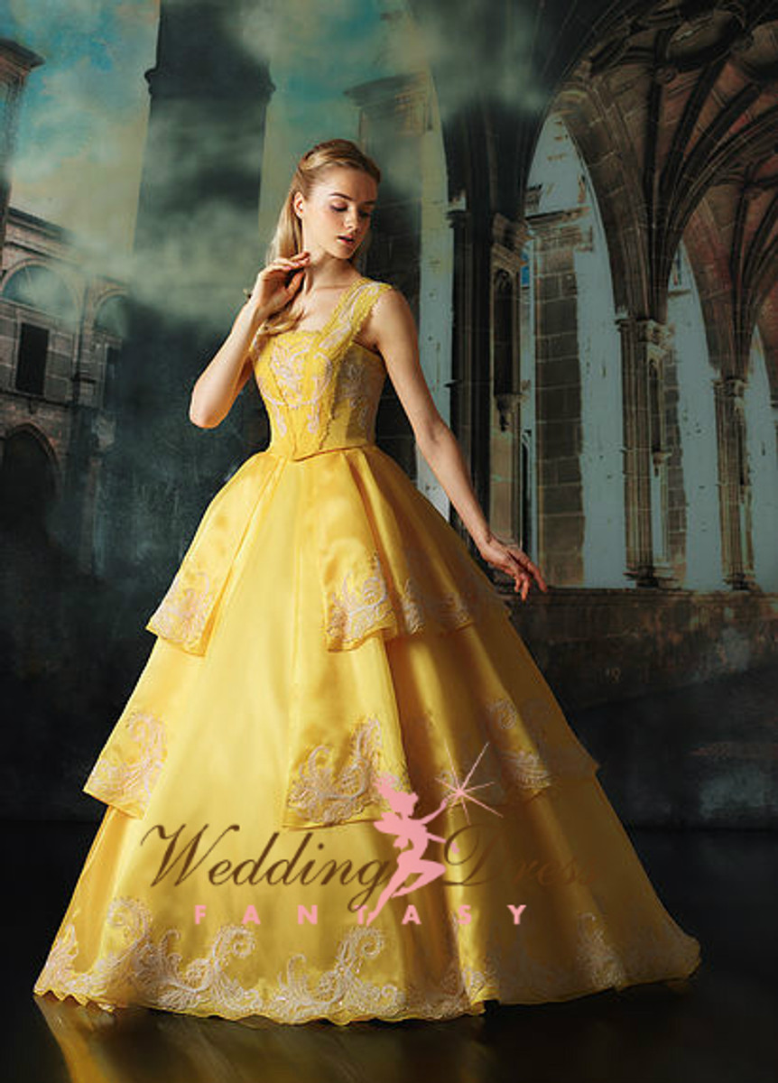 beauty and the beast belle inspired wedding dress