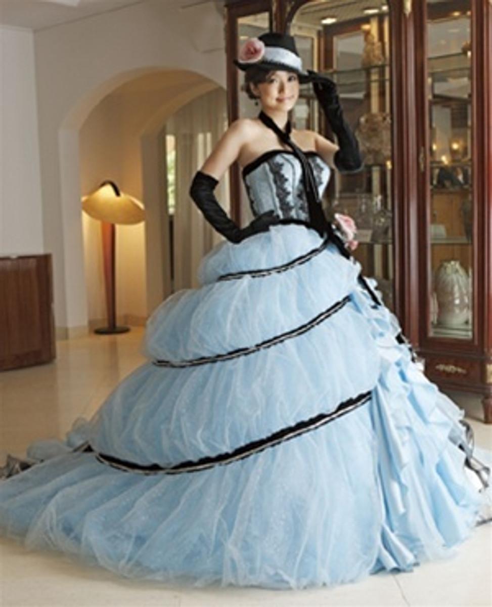 Blue and Black Wedding Dress