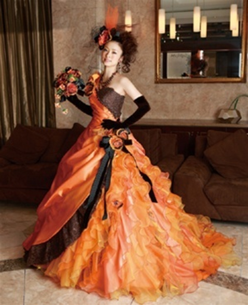 Halloween Wedding Dress In Orange And Black Wedding Dress