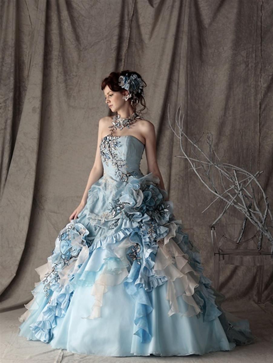 cef9bb86082 Blue Wedding Dress Alice in Wonderland