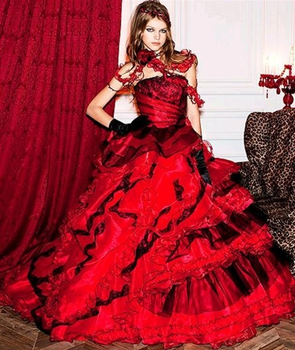 Red Wedding Dress with Black Details on it