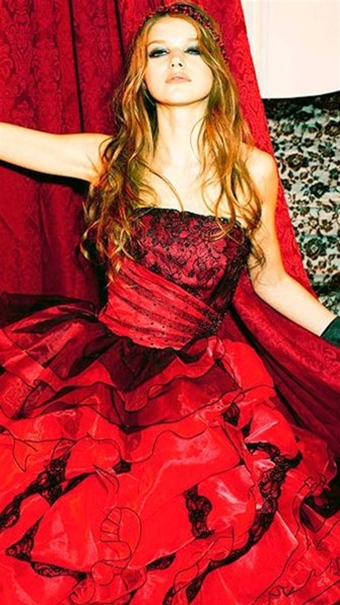 Red Wedding Dress with Black Details