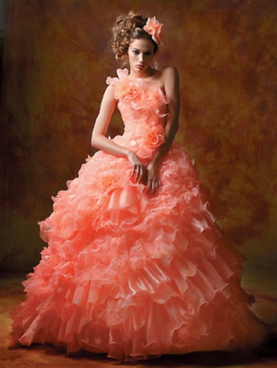 Coral Wedding Dress, Pink Wedding Dress,