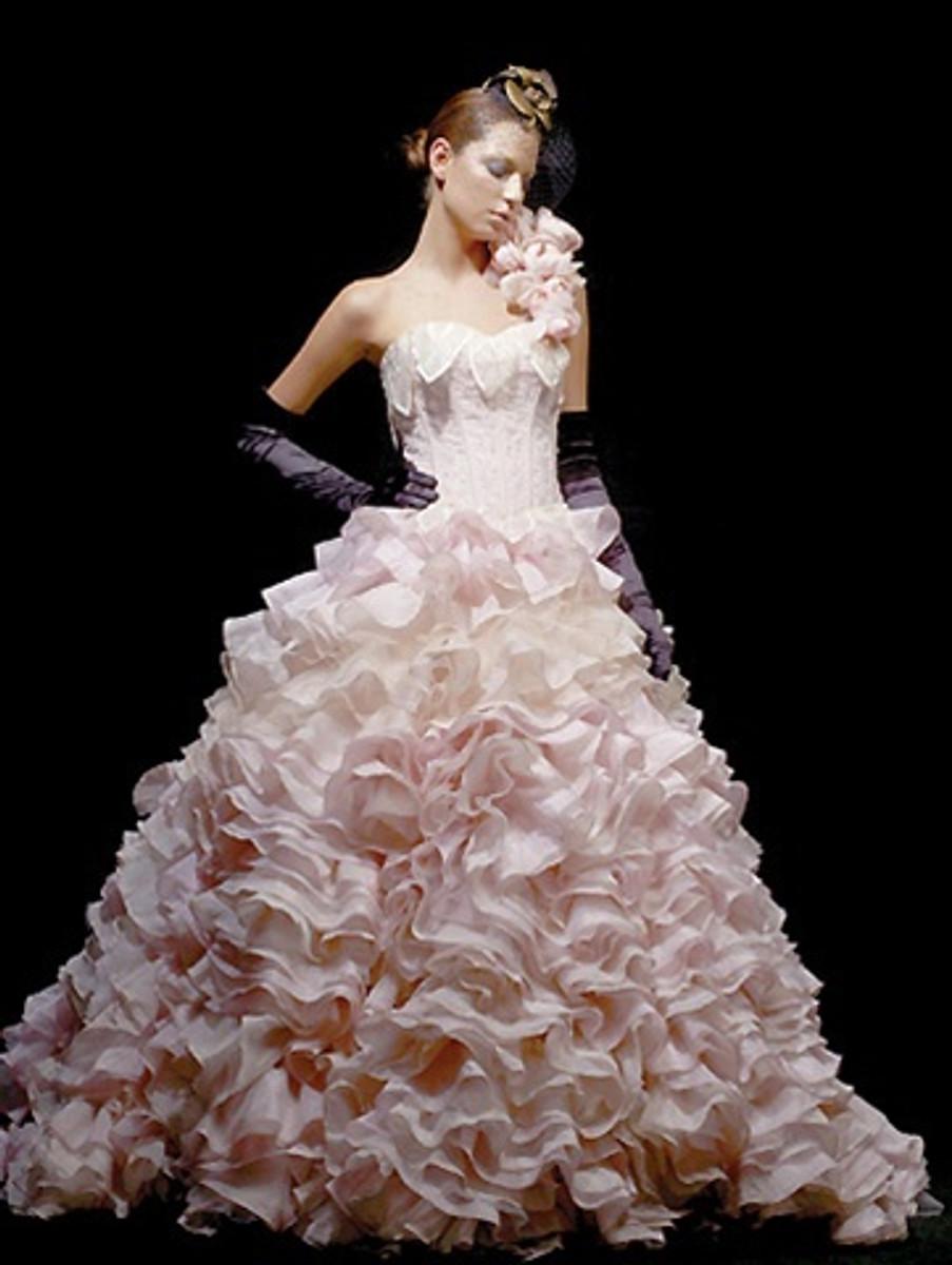 Pink Wedding Dress with Ruffles