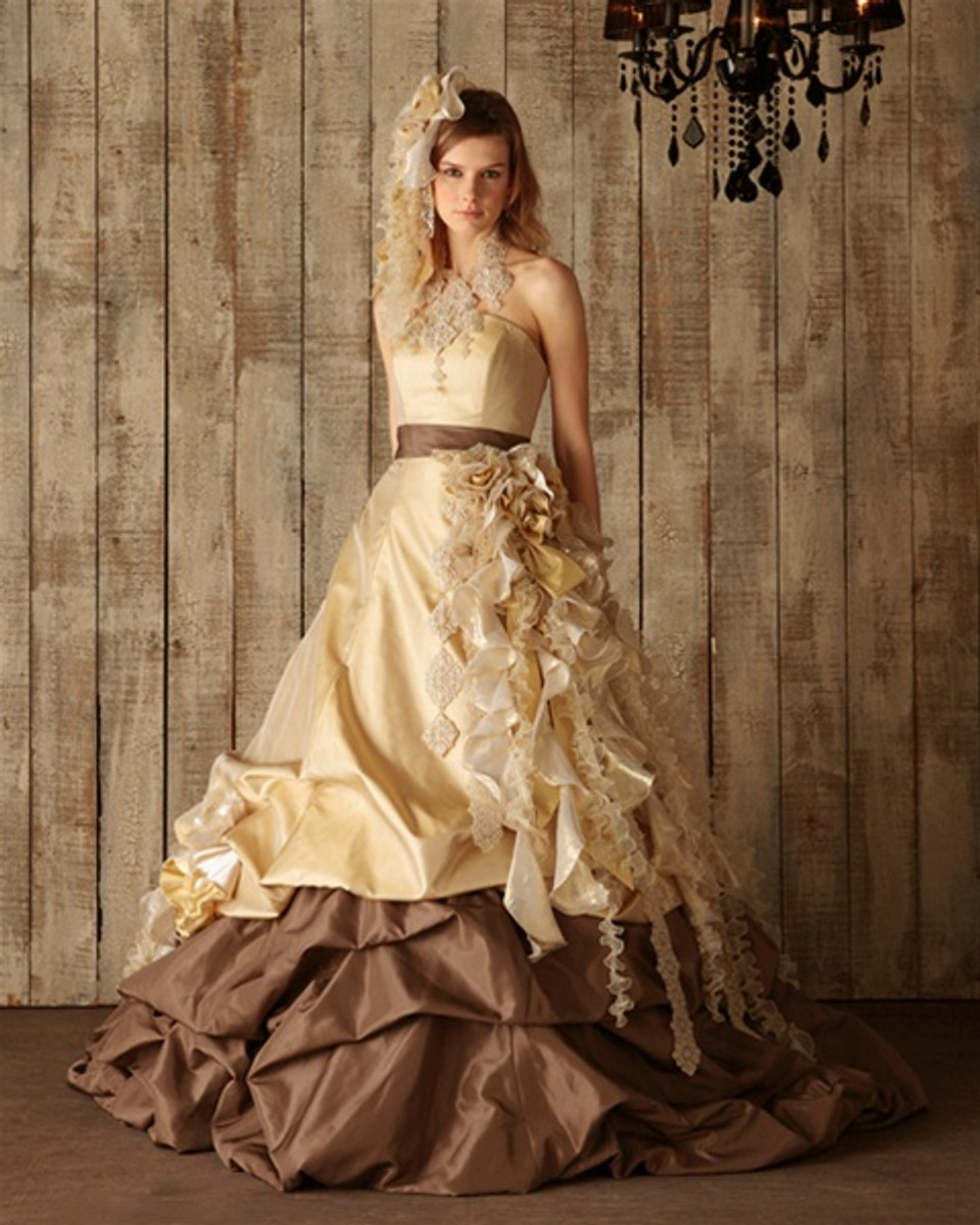Chocolate Brown And Yellow Gold Wedding Dress Available In Every Color
