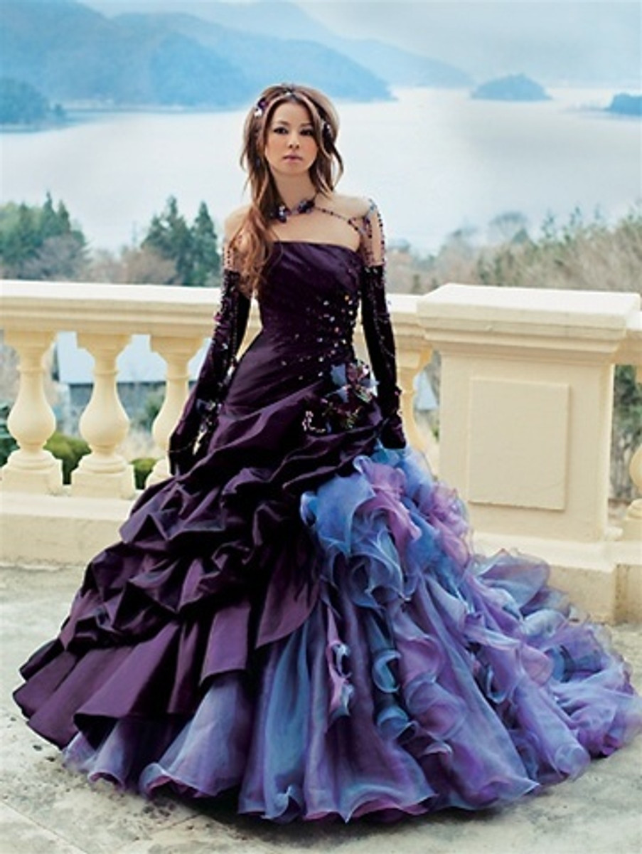 Purple and Black Wedding Dress