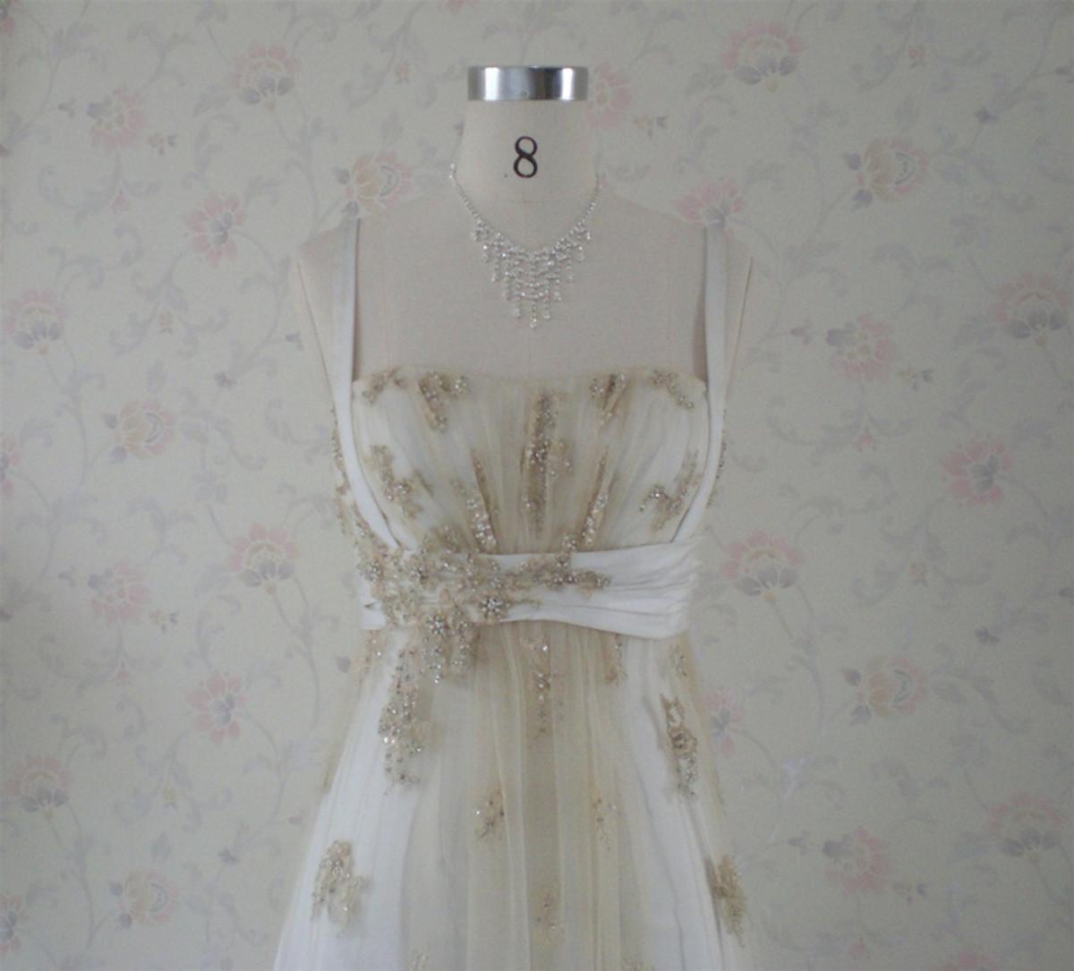 Vintage Inspired Gold Wedding Dress