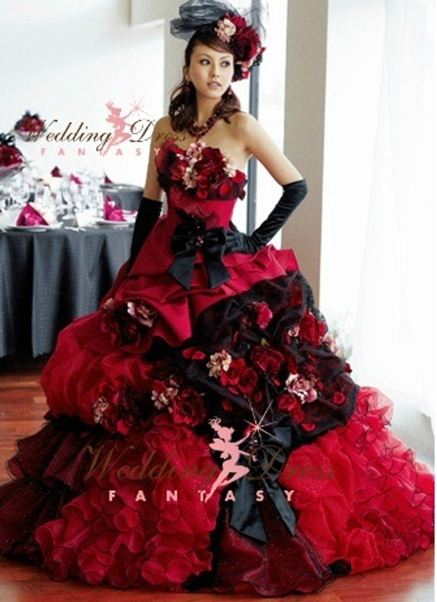 Red Wedding Dresses.Red And Black Wedding Dress Available In Every Color 2