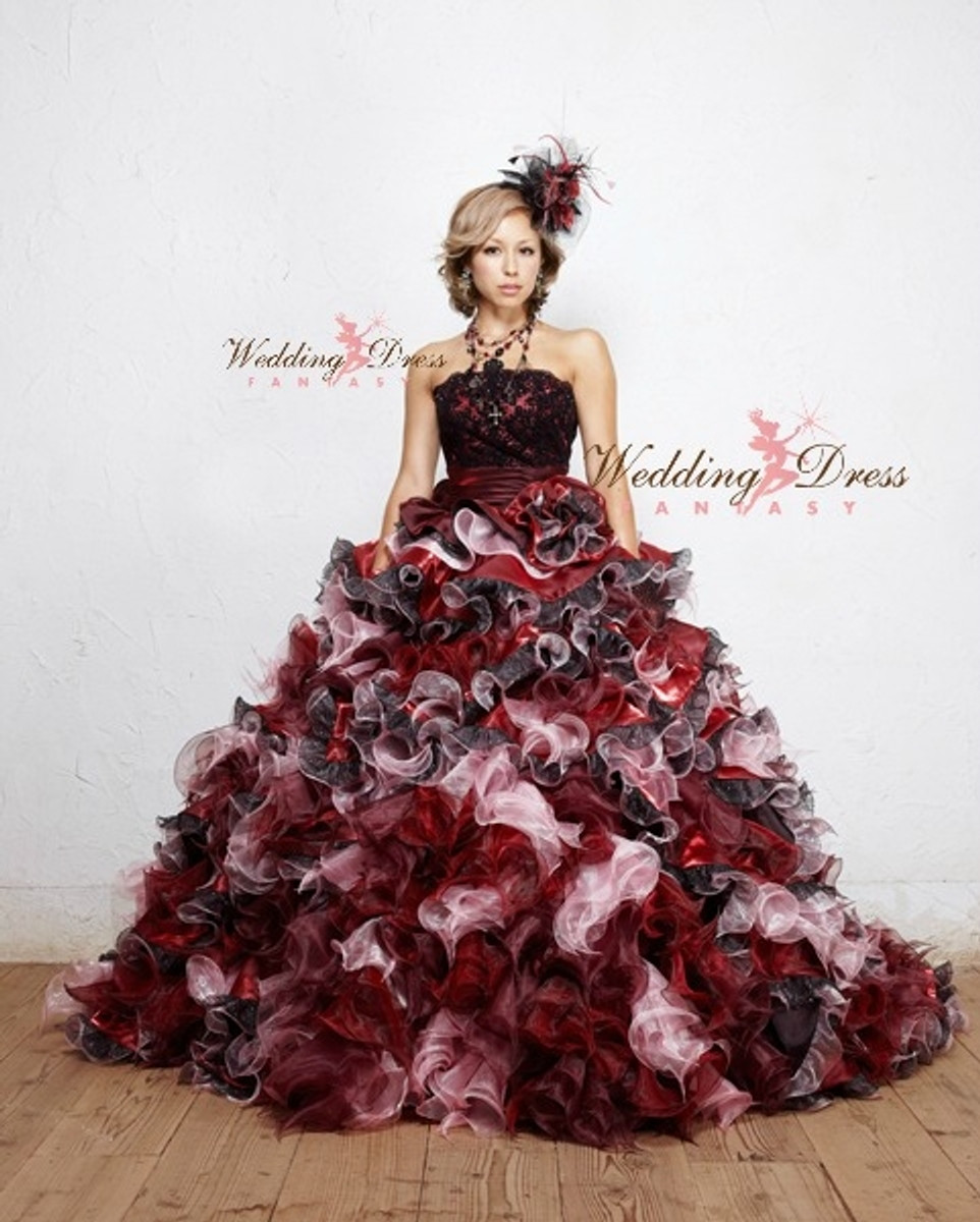 dfeae03924 Red and Black Wedding Dress