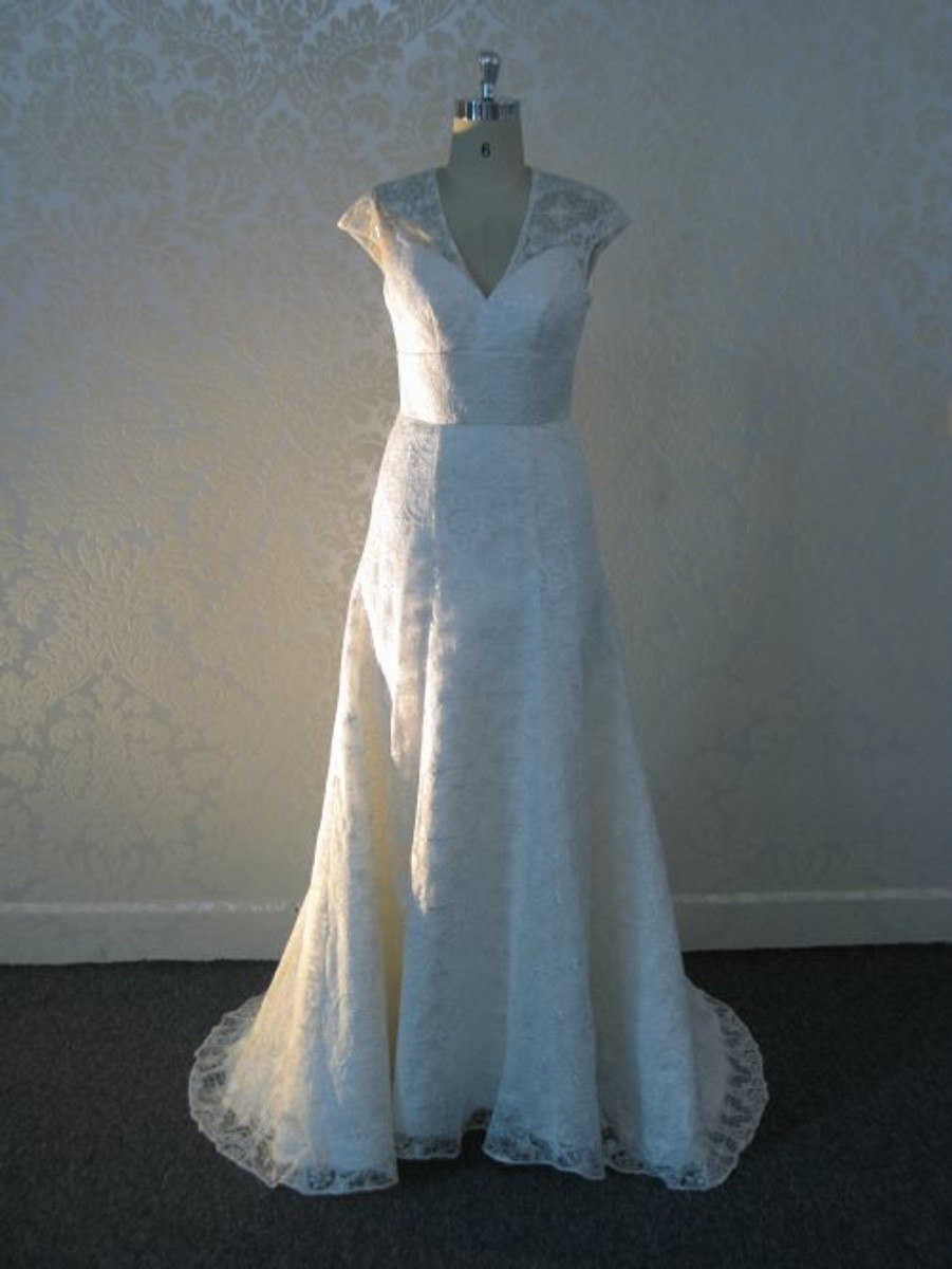 Vintage Inspired Wedding Dress with illusion Neckline