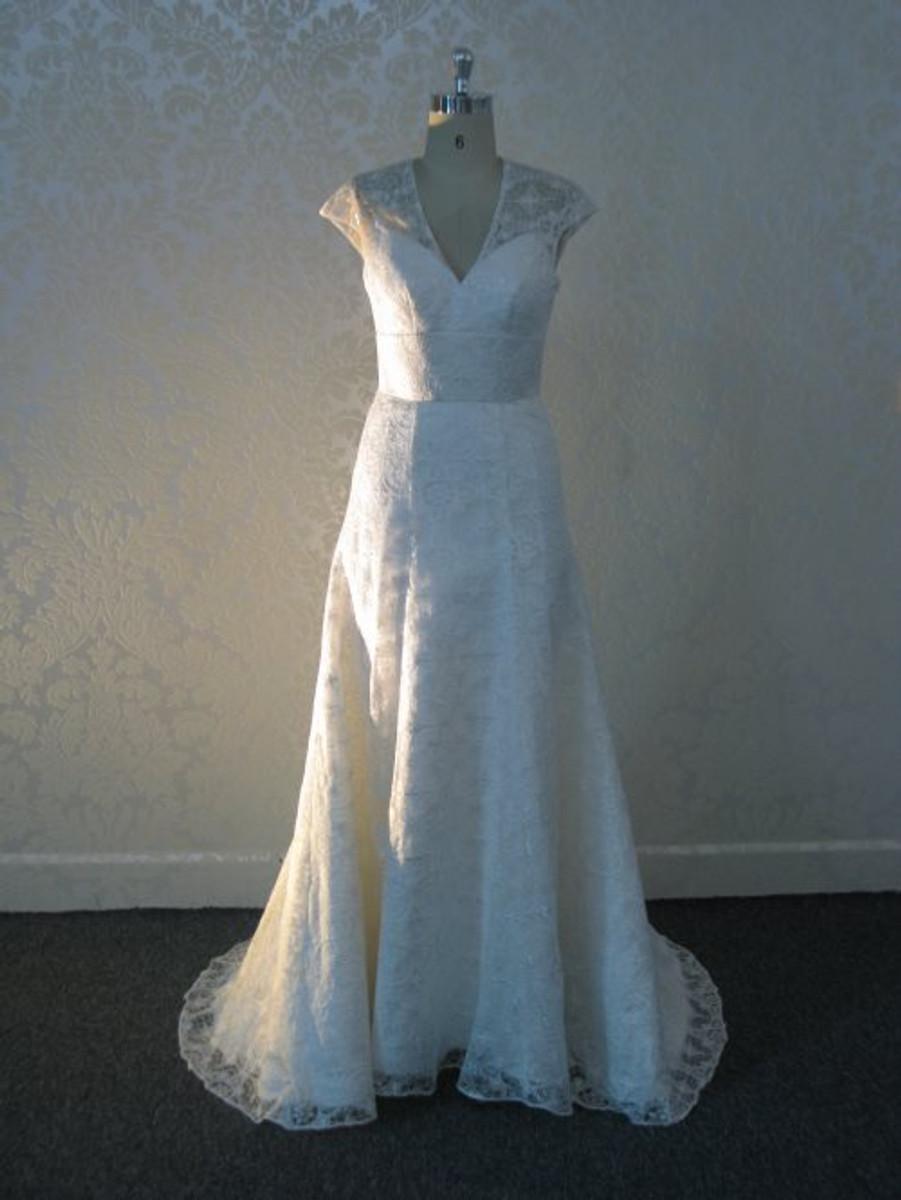 Vintage Inspired Wedding Dress with illusion Neckline