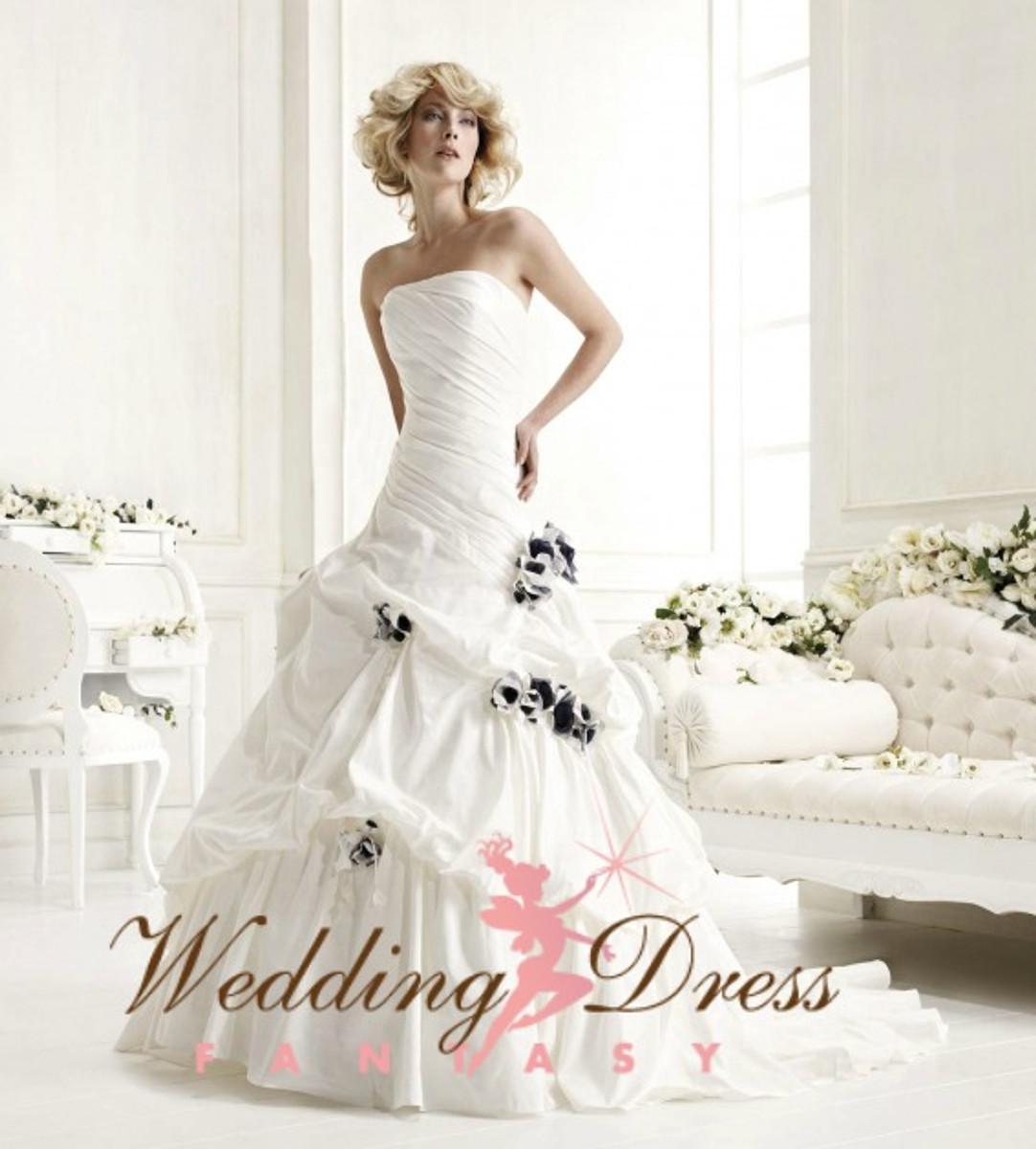 Pleated Taffeta Wedding Dress