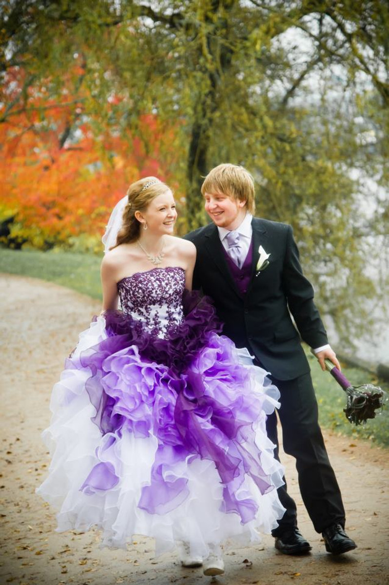 Ombre Wedding Dress Purple and White