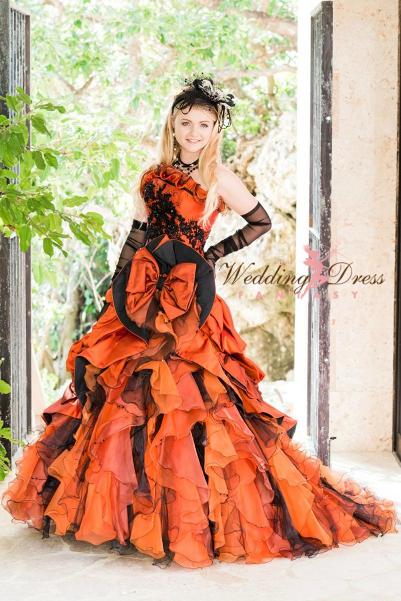 Gothic Wedding Dress In Orange And Black