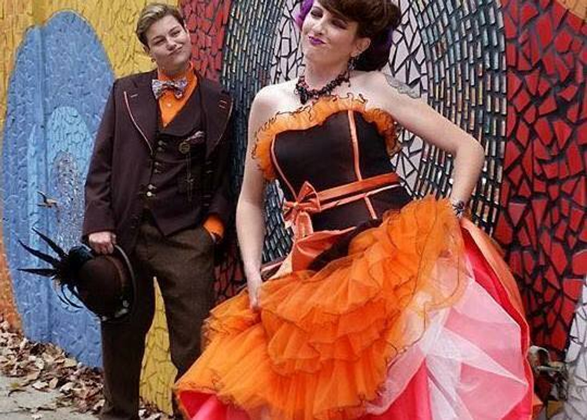 Halloween Bridesmaid Costumes.Gold Yellow Halloween And Orange Wedding Dresses