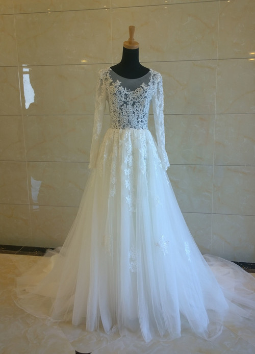 illusion net wedding dress