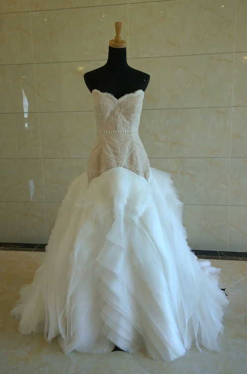 Cream Wedding Dress with Beading