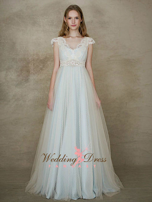 Baby Blue Wedding Dress with Ivory Swiss Dot Net