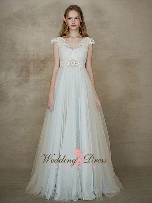 Baby Blue Wedding Dress with Ivory Swiss Dot Net