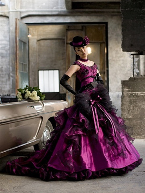Gothic Steampunk Wedding Dress in Orchid Color