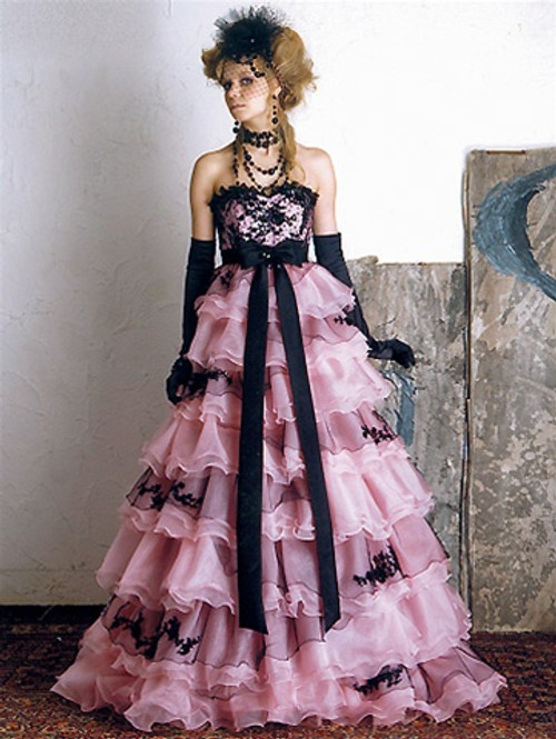 Pink and Black Wedding Dress - Available in Every Color 3