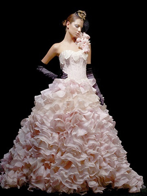 Pink Wedding Dress with Ruffles