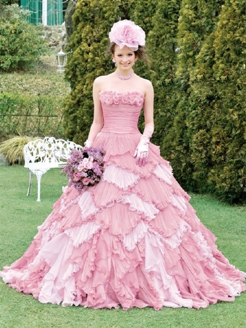 Pink Wedding Dress Bridal Gown