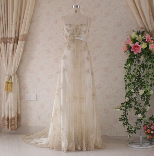 Vintage Inspired Gold Wedding Dress