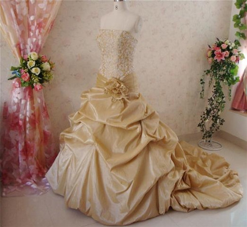Gold Taffeta Wedding Dress - Available in Every Color 7