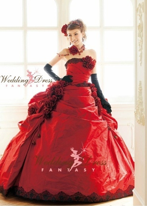 Redd Wedding Dress with Black
