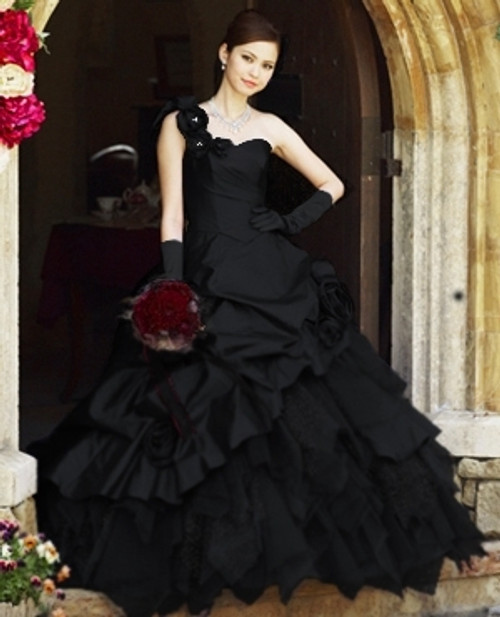 Black Wedding Dress Bridal Gown