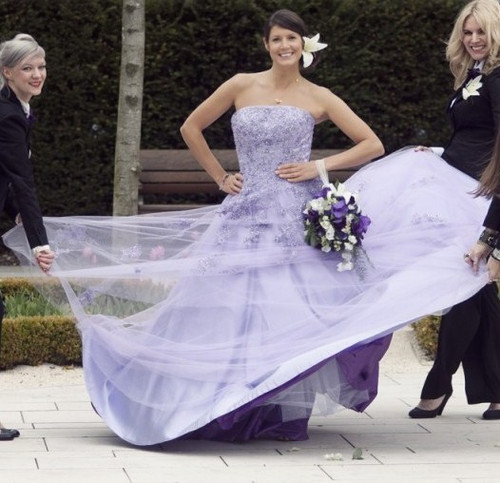 Wedding Dresses With Purple Accents | Purple Wedding Dresses