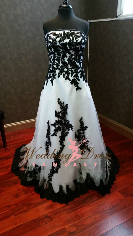 Black and White Wedding Dresses Gothic