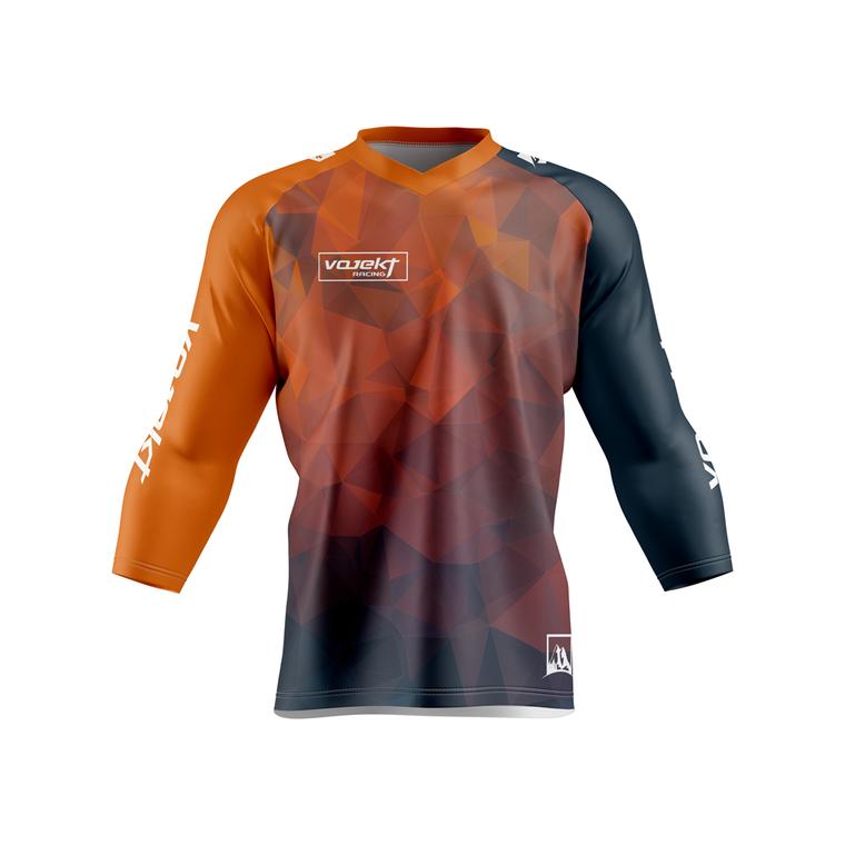 3/4 Sleeve MTB Podium Style Jersey -  1.0 Polygon Geometric Edition