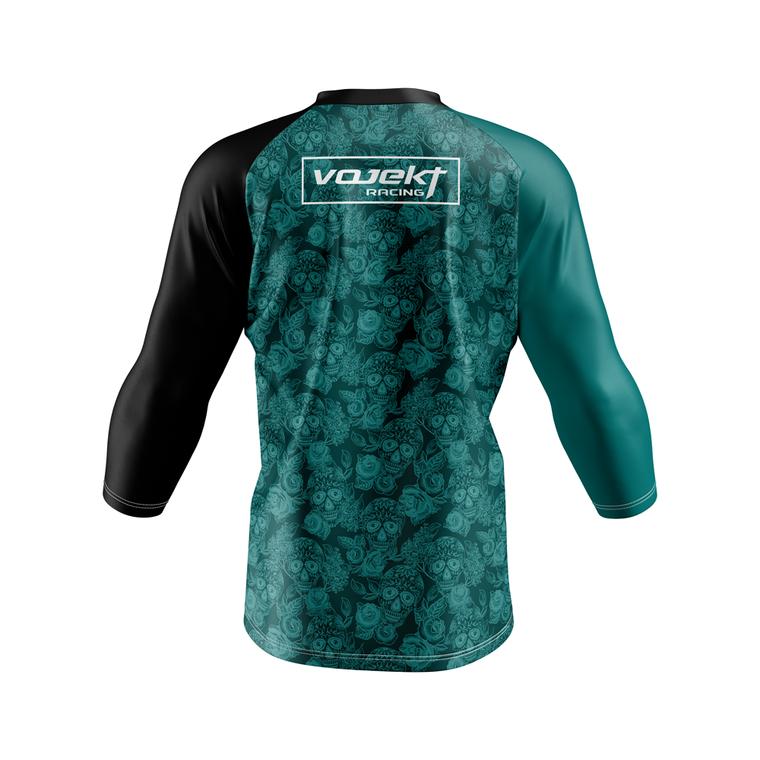 3/4 Sleeve MTB Podium Style Jersey - Dark Roses Sea Foam Green