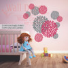 Girls Room Wall Decor Flower Burst Floral Spikes Storm Gray, Lipstick