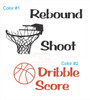 Rebound Shoot Dribble Score Words with Basketball Hoop and Basketball Wall Decals