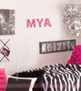 3 inch Zebra print alphabet letters used to spell out a name on a bedroom wall, Hot Pink color