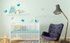 Set of 8 Bird Wall Decals in 2 Colors, 5-Inch size, Modern Girls Room Decor-Warm Gray, Teal